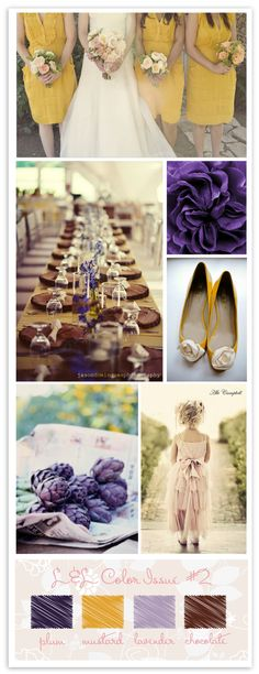 plum + mustard - love this color combo, but I couldn't subject my bridesmaids to wearing yellow.