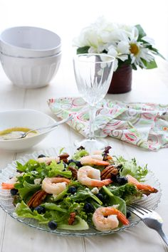 Oooooh, my mom would love this recipe!  Blueberry Shrimp Salad with Lemon Dressing (Lots of other salad recipes, here, too!)
