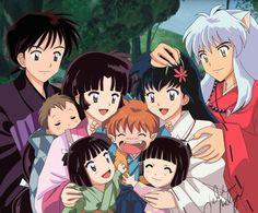The whole family! Miroku, Sango, their kids, Shippo, Kagome and Inuyasha.