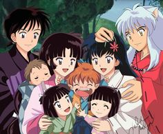 The whole family! Miroku, Sango, their kids, Shippo, Kagome and Inuyasha.