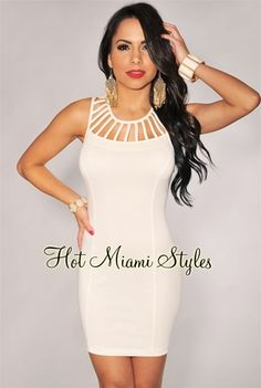 Cream Cut-Out Neckline Dress