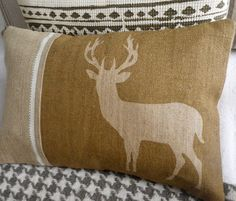 new hand printed natural rustic stag cushion cover by helkatdesign, $76.00