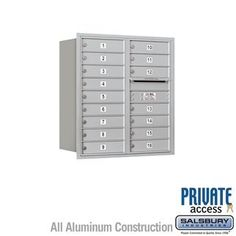 4C Horizontal Mailbox - 9 Door High Unit (34 Inches) - Double Column - 16 MB1 Doors - Aluminum - Rear Loading - Private Access by Salsbury Industries. $787.50. 4C Horizontal Mailbox - 9 Door High Unit (34 Inches) - Double Column - 16 MB1 Doors - Aluminum - Rear Loading - Private Access - Salsbury Industries - 820996411440