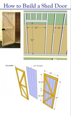 How to Build a Shed Door – Storage Shed Plans – garden shed ideas diy Storage Shed Plans, Door Storage, Diy Shed Plans, Workshop Storage, Storage Ideas, Small Shed Plans, Shed Builders, Firewood Shed, Firewood Storage