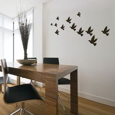 This wall sticker is designed in a subtle and minimalist mode of Flock of birds in the nature. The 12 birds can be placed as you wish on the wall and you can to create a larger space between each other.$24.99