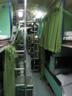 Riding the sleeper train from Chiang Mai to Bangkok. It's not easy to sleep on a train, because of the movement, but it is a nifty operation when they switch the seats to beds.
