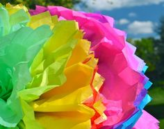 Giant Tissue Paper Flowers - great decorations for mother's day, may day, fiesta...
