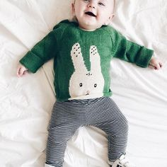 this little one is all smiles in our bunny sweaterthank you @hellopotato.be!