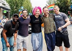 Netflix's Sense8 cast members Toby Onwumere, Alfonso Herrera, Lana Wachowski, Max Riemelt and Brian J. Smith attend Vancouver Pride Parade on August 6, 2017 in Vancouver, Canada.