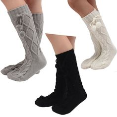 """OLizee Pack of 3 Women Winter Knitted Middle Tube Stocking with Leg Warmer (Grey+Black+White). High quality material, good thermal resistance, soft and durable. Add a pair of knitted Leg warmers to peek out of your favorite Boots, over your short boots or wear over your leggings. Stretchy fabric, easy to pull on and down, comfortable for long time dressing. Tiled size: 44cm x 9cm/17.32"""" x 3.54"""". One size fits most. Package included: 3 PCS socks."""