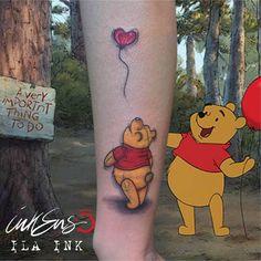 WINNIE THE POOH! Grazie Gioia ❤️ Ila Ink #Winnie the Pooh, #cartoon, #cartoonist, #tattoo, #tatuaggio, #winnie the Pooh tattoo, #cartoon tattoo, #balloon, #heart balloon, #colors, #palloncino, #bear, #orso, #fiaba, #story, #love, #amore