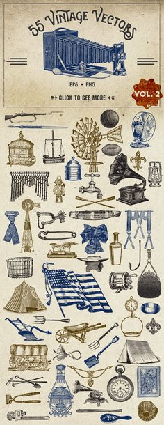 55 Vintage Vectors Graphics Vol. 2 by Eclectic Anthology on Creative Market