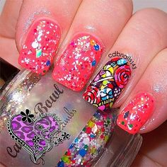 Candy Bowl: Glitter Nail Polish Lacquer- Indie Nail Polish Custom Handmade Glitter Topper on Etsy, $8.00