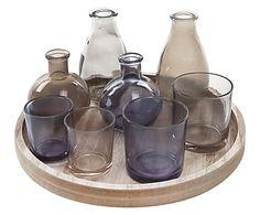 Set decorativo en madera y vidrio lacado Jula - 9 piezas
