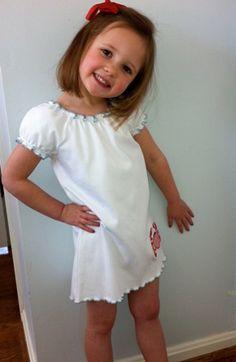A Little English Customer wearing her Lettuce Edge Dress.