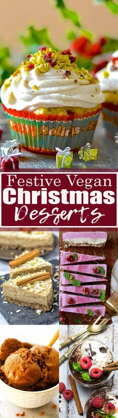 If you're looking for vegan dessert recipes for Christmas, this is the perfect post for you! This roundup also includes savory vegan Christmas recipes and vegan cookies! Vegan Dessert Recipes, Vegan Sweets, Vegan Snacks, Yummy Snacks, Healthy Desserts, Cooking Recipes, Yummy Food, Vegan Food, Vegan Christmas Desserts