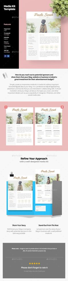 Blog Media Kit Template by AnabellaHope Every blogger who wants to work with brands needs one: to have when a brand asks for one, to proactively pitch brands, and to resp