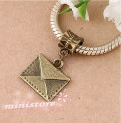 20pcs of antiqued brass envelope bail  charms WU374 by ministore, $3.65