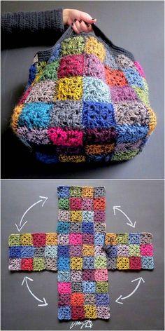 Crochet Granny, Easy Crochet, Crochet Stitches, Free Crochet, Knit Crochet, Crochet Girls, Crochet Squares, Scrap Yarn Crochet, Funny Crochet