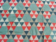 Vintage Cotton Quilt Top Early 1900's Triangle Star Hand Stitched | eBay