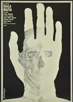 "Polish movie poster for Italian film: ""Biała mafia"" directed by Luigi Zampa. Poster designed by Rene Mulas, 1975."
