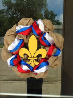 Wreath for Eagle Scout Court of Honor we could do this with a trefoil for our Court of Awards or other ceremonies.