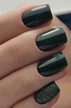 Bronze nails with flowers - Nail Designs! - Green Nail Designs ideas Colors That You to Try,neon green nails,olive green nails,neon lime green - Green Nail Designs, Square Nail Designs, Best Nail Art Designs, Fall Nail Designs, Chic Nail Designs, Dark Green Nails, Green Nail Art, Green Nail Polish, Nail Manicure
