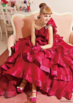 barbie bridal color wedding dress cherry pink ball gown 0107