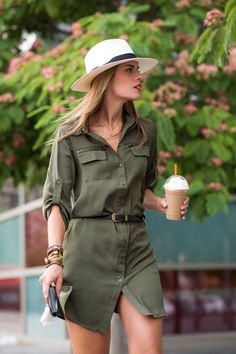 Women's Dresses - Green Long Sleeve Lapel Pockets Dress Best Picture For outfits vestidos For Your Taste You are lo - Safari Outfit Women, Safari Outfits, Safari Dress, Shirtdress Outfit, Green Shirt Dress, Khaki Dress, Belted Dress, Casual Outfits, Cute Outfits