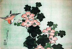 Hibiscus and Sparrow, 1830 by Katsushika Hokusai. Ukiyo-e. bird-and-flower painting Japanese Prints, Japanese Art, Monte Fuji, Sun Prints, Art Occidental, Katsushika Hokusai, Art Japonais, Expositions, Japanese Painting