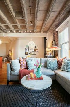 Love this sectional sofa and all the pillows!