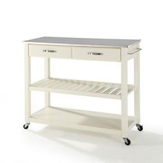 Crosley Furniture Stainless Steel Top Kitchen Cart/Island with Optional Stool Storage in White Finish Crosley Furniture