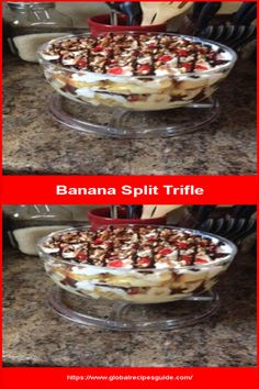 Banana Split Trifle - Daily World Cuisine Recipes Whats Gaby Cooking, Pancake Cake, Trifle Dish, Large Salad Bowl, Yellow Cake Mixes, Banana Split, Banana Pudding, Daily Meals, What To Cook