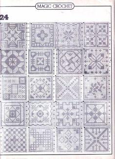 63 Sampler Stitches to Crochet Crochet Bedspread Pattern, Crochet Motifs, Granny Square Crochet Pattern, Crochet Diagram, Crochet Squares, Thread Crochet, Crochet Granny, Crochet Doilies, Crochet Stitches