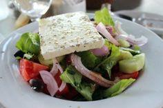 Close up shot of Greek salad