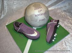 Soccer Boots and Football Cake  http://www.cakescrazy.co.uk/details/soccer-boots-and-football-cake-4319.html