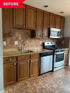 Kitchen Paint, Kitchen Redo, Kitchen And Bath, New Kitchen, Kitchen Dining, Kitchen Flooring, Kitchen Countertops, Green Kitchen Inspiration, Painting Countertops
