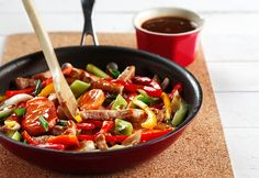 Flavoured with garlic, ginger and black bean sauce, this Pork Stir-fry is great with rice noodles, whole wheat noodles or steamed brown rice. Pork Recipes, Asian Recipes, Cooking Recipes, Healthy Recipes, Ethnic Recipes, Chinese Recipes, Pork With Black Bean Sauce Recipe, Pork Stir Fry, Cooking Wine