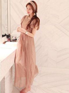 Summer Vogue Chiffon Short Sleeve Maxi Dress Beige