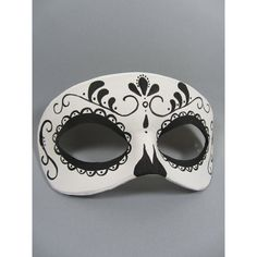 Day of the Dead Swirl Black and White Leather Mask, Unisex ($40) ❤ liked on Polyvore featuring mask
