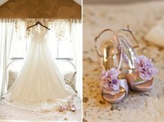 Light purple wedding pumps with Pom tops