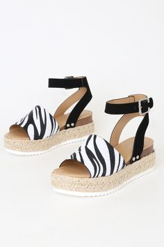 Step your shoe game up with the Remi Zebra Print Espadrille Platform Sandals! Vegan zebra print calf hair sandals with an espadrille-wrapped platform sole. Wedge Heels, Sandal Heels, Zebra Print, Shoe Game, Ankle Strap, Calves, Peep Toe, Espadrilles, Floral Prints