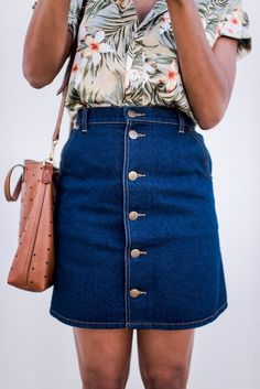 style me grasie : i'm in maui!  j-crew men's floral tropical button down shirt, madewell hole shoulder bag leather, la canadienne heels, the fifth denim button down skirt.  ootd blogger style lifestyle grasie mercedes floral tropical summer edit look