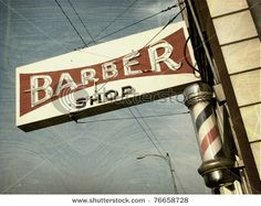 Vintage Barber Shop Sign With Barber Pole