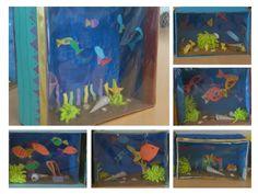 Ontzettend leuke opdracht beeldende vorming: aquarium maken met tropische vissen en koraal (materiaal van schoonmaakdoekjes) in een schoenendoos. Decoreer het met zand en schelpen. Voor het effect van glas kun je folie gebruiken. Door de combinatie van tweedimensionaal en driedimensionaal is het extra leerzaam! De aquaria op de foto zijn gemaakt door kinderen van ong. 8 á 9 jaar.