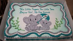 Elephant themed baby shower for boy or girl.