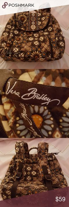 Vera Bradley quilted bag Brown floral Vera Bradley backpack in great condition. Inside is clean and no signs of wear at edges. Multiple pockets to carry all the school essentials. Get a head start on school shopping for next year! Vera Bradley Accessories Bags