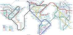 World map, as if it were one huge subway system. - Chris Gray, Underground series