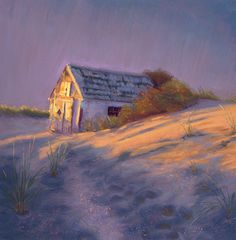 Tashas Dune Shack Landscape Pastel Painting by Poucher, painting by artist Nancy Poucher