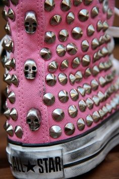 Pink Studded High Top Converse   Pink, Black or clear Stickcons kits would be our top 3 matches for this look! Even better when you mix your Stickcons     For more inspiration & ideas check out Stickcons.com
